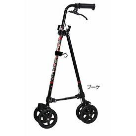 ハンドレールステッキII 杖 ステッキ 軽量 フック 車輪 高さ調節 グリップ ハンドル 花柄
