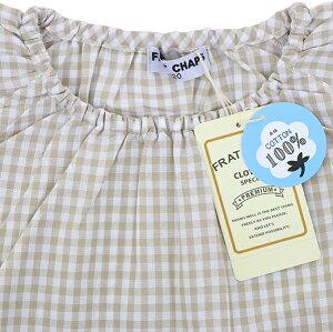 綿100%ギンガムチェックスモック子供キッズ半袖薄手ブロード先染めギンガムチェック格子スモックキッズスモックFRATCHAPS110-160cm