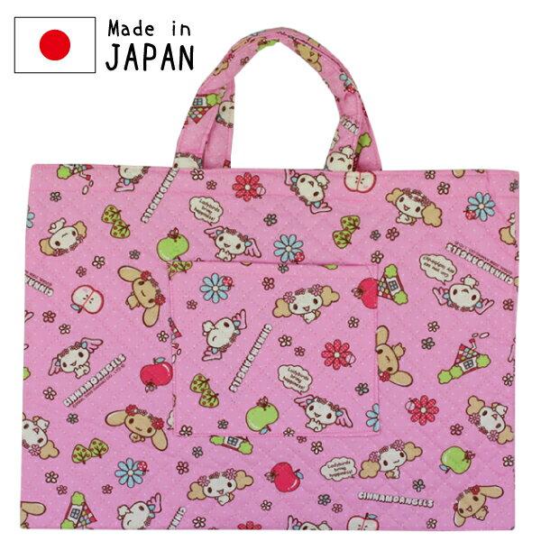 日本製 シナモエンジェルス ピンクドット キャラクター キルトレッスンバッグ キルト レッスン バッグ