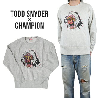 TODD SNYDER (Todd Snider) x CHAMPION (champion) Indian Head Sweatshirt crew sweet trainer