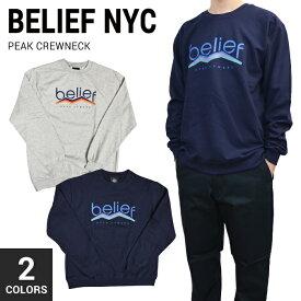 【割引クーポン配布中】 BELIEF NYC(ビリーフ) PEAK CREWNECK クルーネック スウェット フリース トレーナー メンズ ストリート スケート 【あす楽対応】【バーゲン】