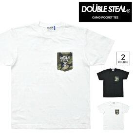 【割引クーポン配布中】 DOUBLE STEAL (ダブルスティール) Tシャツ CAMO POCKET T-SHIRT TEE カットソー トップス メンズ ブラック ホワイト M-XL 903-14038 【単品購入の場合はネコポス便発送】【RCP】