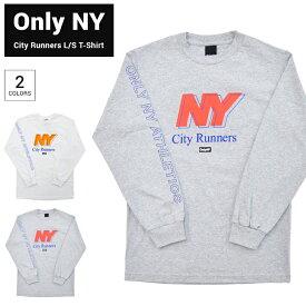 【割引クーポン配布中】 ONLY NY (オンリーニューヨーク) ロンT CITY RUNNERS L/S T-SHIRT TEE ロング Tシャツ カットソー 長袖 メンズ S-XL ホワイト グレー 【単品購入の場合はネコポス便発送】【RCP】