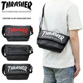 【割引クーポン配布中】 THRASHER (スラッシャー) バッグ COATING FLAP SHOULDER BAG ショルダーバッグ メッセンジャーバッグ マグロゴ BAG バッグ 鞄 黒 ブラック THR-150 【あす楽対応】【RCP】