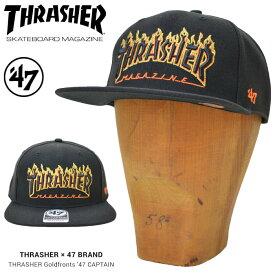 【割引クーポン配布中】 47BRAND (フォーティーセブン ブランド) キャップ THRASHER x Giants Goldfronts '47 CAPTAIN CAP 帽子 スナップバックキャップ MLB ブラック 【あす楽対応】【RCP】