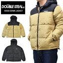 【割引クーポン配布中】 DOUBLE STEAL (ダブルスティール) ジャケット HOOD DOWN JACKET 中綿ジャケット ナイロンジャケット メンズ M-XL ブラック ベージュ 796-