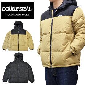 【割引クーポン配布中】 DOUBLE STEAL (ダブルスティール) ジャケット HOOD DOWN JACKET 中綿ジャケット ナイロンジャケット メンズ M-XL ブラック ベージュ 796-62050 【あす楽対応】【バーゲン】