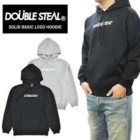 【割引クーポン配布中】 DOUBLE STEAL (ダブルスティール) パーカー SOLID BASIC LOGO HOODIE スウェット フリース 長袖 メンズ M-XL ブラック グレー 996-65049 【あす楽対応】【RCP】