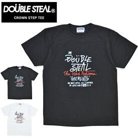 【割引クーポン配布中】 DOUBLE STEAL (ダブルスティール) CROWN STEP T-SHIRT TEE Tシャツ 半袖 カットソー メンズ ブラック ホワイト M-XL 901-14001 【単品購入の場合はネコポス便発送】【RCP】