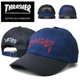 【割引クーポン配布中】 THRASHER (スラッシャー) キャップ LOTTIES OLD TIMER HAT CAP 6パネルキャップ ストラップバックキャップ 帽子 ブラック ブルー 【あす楽対応】