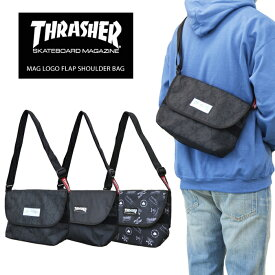 【割引クーポン配布中】 THRASHER (スラッシャー) バッグ MAG LOGO FLAP SHOULDER BAG ショルダーバッグ メッセンジャーバッグ マグロゴ BAG バッグ 鞄 黒 ブラック THR-106 【あす楽対応】【RCP】