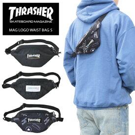 【割引クーポン配布中】 THRASHER (スラッシャー) MAG LOGO WAIST BAG S ミニ ウエストバッグ ボディーバッグ ショルダーバッグ マグロゴ BAG バッグ 鞄 黒 ブラック THR-110 【ネコポス便発送で送料無料】【RCP】