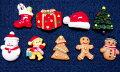 メール便可☆クリスマスデコパーツ全9種☆クリスマスツリー・雪だるま・スノーマン・プレゼント・ベアー・サンタ帽・モミの木・ジンジャ—マンデコパーツ