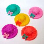 りぼん付き麦わら帽子ハット帽子全5種類約26×25×7mmプラスチックスイーツパーツデコ(クロネコDM便可!!)