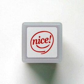 ミニグラフィック浸透印 スタンプ はんこ D:0544-001 nice! 超ナイス 〇 顔 にっこり ないす ナイス レッド 赤 こどものかお KODOMO NO KAO (メール便可!!)