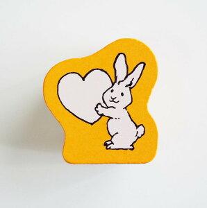 がなはようこのどうぶつスタンプ はんこ D:1680-015 ウサギ ハート love オレンジ 橙色 Rabbit プレゼント 渡す ギフト ラビット うさぎ 兎 動物 アニマル animal こどものかお KODOMO NO KAO (メール便