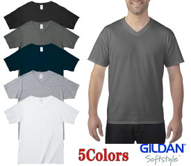 63V00 4.5オンスアダルトVネックTシャツ (GILDAN・ギルダン) 【ジャパンフィットサイズ】 XS・S・M・L・XL・2XL 綿100%-全5色・6サイズ-