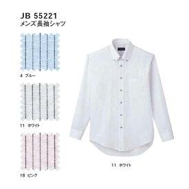 jb55221 メンズ長袖シャツ (サンエス【SUN-S】) 【メーカーカタログより50%0FF+社名刺繍無料】 M〜5L ストライプ 綿55% ポリエステル45%