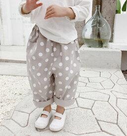 【即納】キッズ パンツ ベビー 子供服 こども服 ベビー服 こども服 ドット 水玉 シンプル 長ズボン ロングパンツ 8分丈 ゆったり かわいい ボトムス 秋物 男の子 女の子