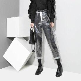 即納 レディースパンツ ビニールボトムス デザインズボン 透明 重ね着おすすめ!! フリーサイズ