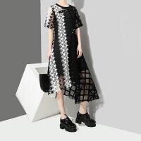 春新作星デザインワンピース半袖ロングワンピ裾不規則ワンピブラック×ホワイトフリーサイズ