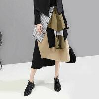 秋新作レディーススカート個性的デザインスカート変形スカートロング丈ひざ下丈フリーサイズ
