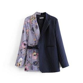 即納 レディースジャケット アウター テーラードジャケット 個性的 左右違う柄 花柄 ボタニカル柄 ストライプ パープル ネイビー S M L
