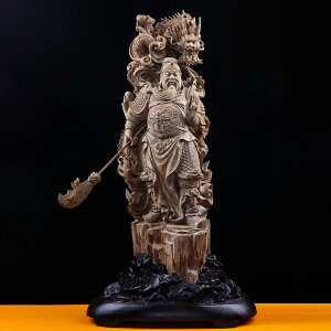 【天然沈香木彫】関羽立像 龍(竜 )仏教美術 仏像 木彫 珍品 コレクション 室内飾り 彫刻工芸品 手作り意匠 精密雕刻 極上品 大 H:85CM