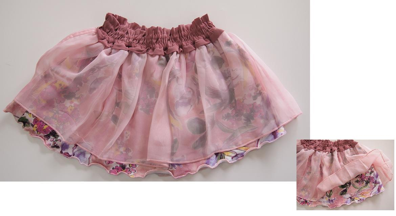 セール30%OFF (メール便可)hakka kids(ハッカキッズ) チュール付きお花柄スカート[ハッカキッズ][スカート] SALE