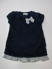 セール50%OFF【BeBe】[ベベ] 【Noeil aime BeBe】[ノイユ エーム べべ] プードルボア リボン付きワンピース (80-100cm)[ワンピース][ベベの子供服]女の子(1761-780331) SALE