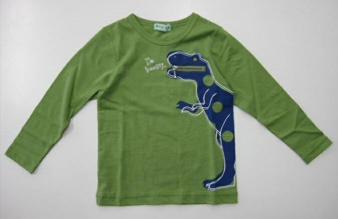 セール20%OFF (メール便可)【hakka kids】[ハッカキッズ] ジップポケット付きダイナソープリント長袖Tシャツ (100cm 110cm 120cm) (春夏物) (男の子) [長袖Tシャツ] (02951681) SALE