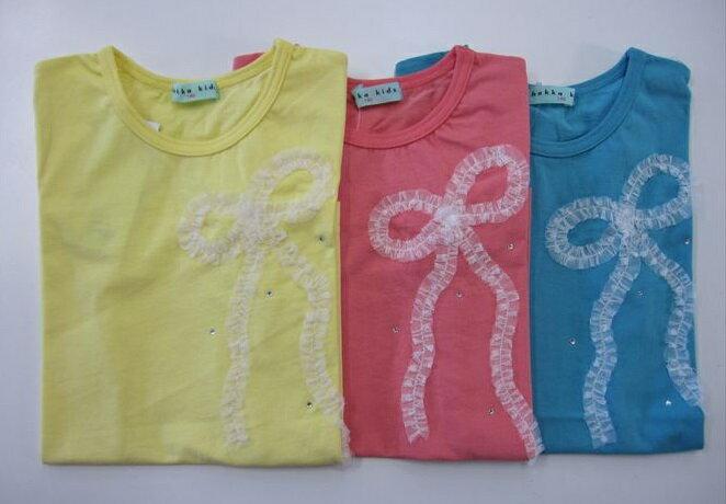 セール50%OFF (メール便可)【hakka kids】[ハッカキッズ] リボンモチーフ半袖Tシャツ (130cm 140cm) (春夏物) (女の子) [半袖Tシャツ] (02954185) SALE
