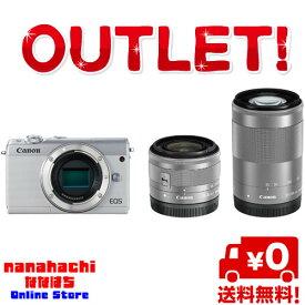 【展示品アウトレット】Canon キヤノン EOS M100 ダブルズームキット [ホワイト] 標準ズームレンズ「EF-M15-45mm F3.5-6.3 IS STM」と、望遠ズームレンズ「EF-M55-200mm F4.5-6.3 IS STM」が付属【送料無料・北海道・沖縄県を除く】
