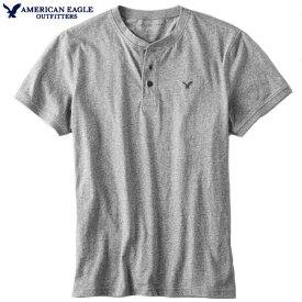 アメリカンイーグル Tシャツ メンズ Tシャツ 半袖ヘンリー ジャージーコットン インナー カットソー アメカジ 大きいサイズ【Mサイズ】ヘザーグレー メール便送料無料 American Eagle アメリカンイーグル 正規品
