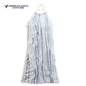 アメリカンイーグル ドレス レディース ドレス サマードレス マキシドレス ホルタードレス ラップ フリンジ アメカジ 大きいサイズ【M サイズ】ライトブルー 送料500円 あす楽 American Eagle アメリカンイーグル 正規品