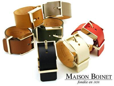 メゾンボワネ MAISON BOINET ワイドレザーバングル 95009G 30mm ゴールド金具 【あす楽対応】