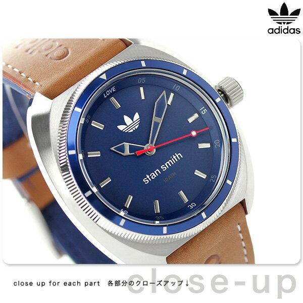 アディダス オリジナルス スタン スミス クオーツ 腕時計 ADH3006 adidas 腕時計 ネイビー×ブラウン 時計