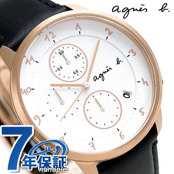 アニエスベー 時計 マルチェロ クロノグラフ 日本製 FBRW989 agnes b. ホワイト×ブラック アニエス・ベー 腕時計【あす楽対応】