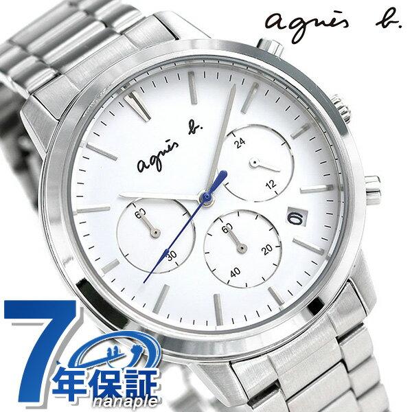 アニエスベー サム クロノグラフ 40mm メンズ 腕時計 FCRT967 agnes b. ホワイト 時計【あす楽対応】
