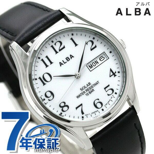 セイコー アルバ ソーラー メンズ 腕時計 AEFD543 SEIKO ALBA デイデイト ホワイト×ブラック 時計