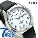 セイコー アルバ ソーラー メンズ 腕時計 AEFD543 SEIKO ALBA デイデイト ホワイト×ブラック