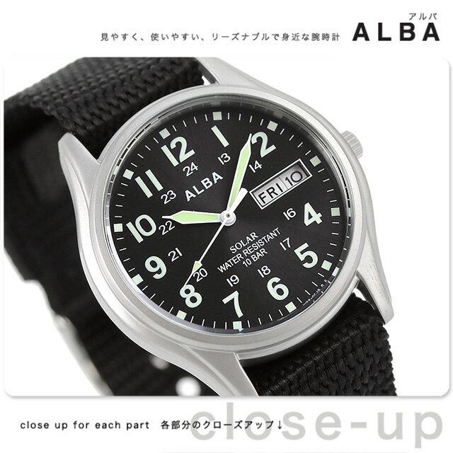 セイコー アルバ ソーラー デイデイト メンズ 腕時計 AEFD557 SEIKO ALBA ブラック 時計