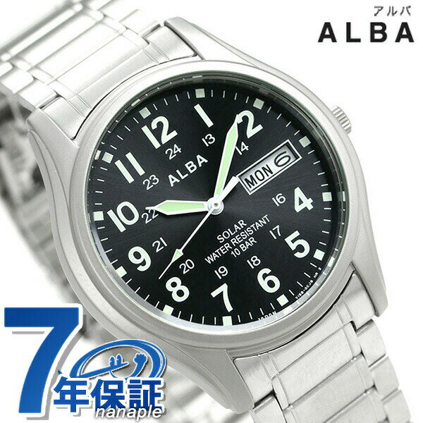 セイコー アルバ ソーラー デイデイト メンズ 腕時計 AEFD560 SEIKO ALBA ブラック 時計