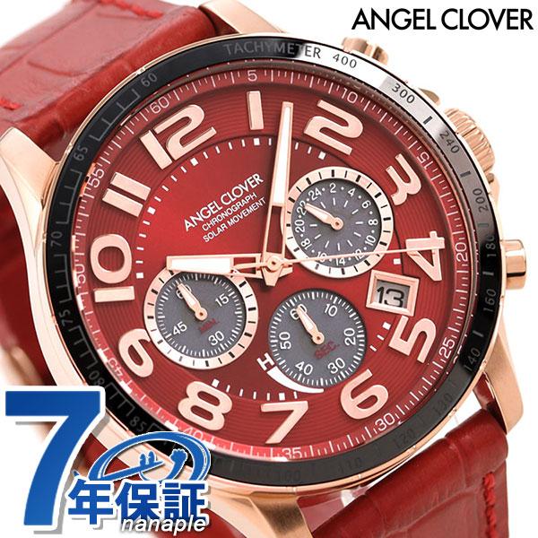 エンジェルクローバー ソーラー クロノグラフ メンズ 腕時計 LUS44P-RE ANGEL CLOVER ルーチェ ソラーレ 革ベルト 時計【あす楽対応】