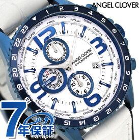 【20日はさらに+4倍でポイント最大27倍】 エンジェルクローバー モンド クロノグラフ メンズ 腕時計 MO44BNV-WH ANGEL CLOVER 革ベルト 時計