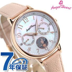 【20日はさらに+4倍でポイント最大27倍】 エンジェルハート サン&ムーン ソーラー レディース 腕時計 TT33P-PK AngelHeart ホワイトシェル×ピンクベージュ 革ベルト【あす楽対応】