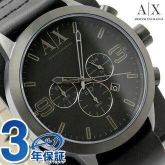 阿玛尼交换手表人计时仪全部黑色皮革皮带AX ARMANI EXCHANGE AX1276