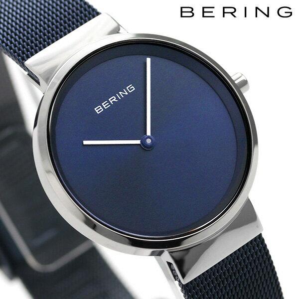 ベーリング カービング メッシュ 31mm クオーツ レディース 14531-307 BERING 腕時計 ネイビー 時計【あす楽対応】