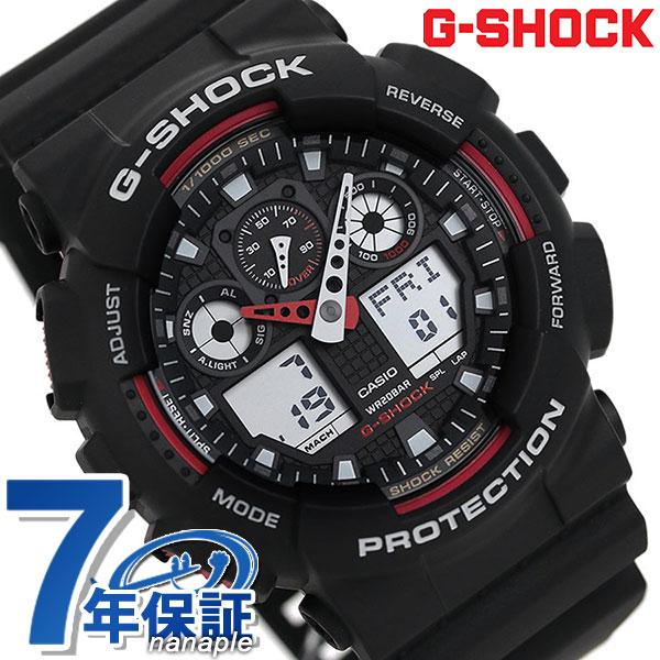 【当店なら!さらにポイント+4倍 26日20時〜】 G-SHOCK CASIO GA-100-1A4DR 腕時計 カシオ Gショック Newコンビネーションモデル ブラック × レッド 時計【あす楽対応】