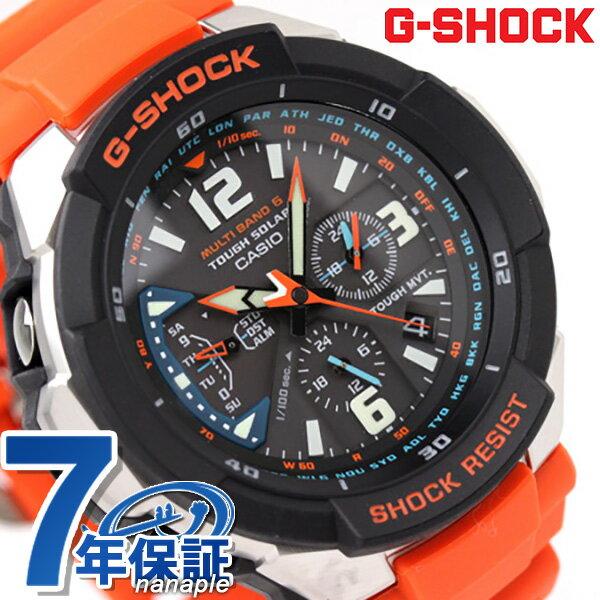 GW-3000M-4AER ジーショック G-SHOCK CASIO 腕時計 SKY COCKPIT スカイコクピット ソーラー 電波 アナログ ブラック×オレンジ 時計